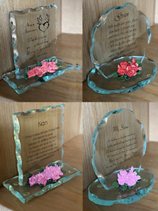 Glass Plaque With Poem & Flowers Anniversary, Sister, Gran, Nan, Daughter Gift
