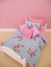 MINIATURE DOLLHOUSE 12TH SCALE SINGLE SHABBY CHIC 6 PCE BEDDING SET BED EXCLUDED