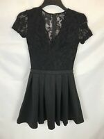 Mela Loves London Black Lace Skater Dress Size 8