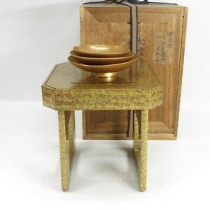 D0865: Highest-class Japanese old lacquered SAKE cup and stand w/gorgeous MAKIE