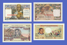COMORES MADAGASCAR - Lots of 4 notes - 500...5000 Francs - Reproductions