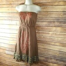 Urban Mango Boutique Dress Sz S Embroidered Brown Pink Strapless Boho Western