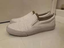 NEXT WHITE PERFORATED FAUX LEATHER PLIMSOLL SLIP ON SHOES - UK SIZE 8