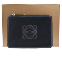 Authentic LOEWE MADRID Bifold Wallet Coin Purse Suede Leather Black 03ER227