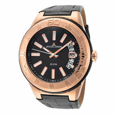 Jacques Lemans Unisex Miami 50mm Black and Rose Dial Leather Watch