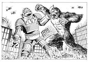 DOCTOR WHO ORIGINAL ART: THE GIANT ROBOT VS KING KONG BY SCOTT GRAY
