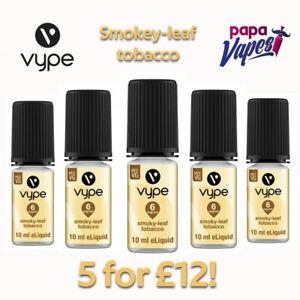 VYPE E-LIQUID 5 for £12    SMOKEY LEAF TOBACCO    JUICE   3MG 6MG 18MG   10ML