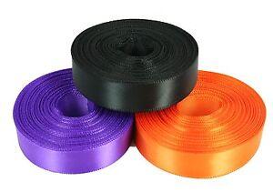 HALLOWEEN Set of 3 Rolled up SF SATIN Ribbon Purple Orange Black Choose size
