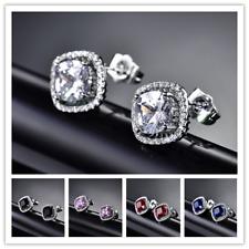 HUCHE Classic Round Sapphire Diamond 18K Silver Gold Filled Women Studs Earrings
