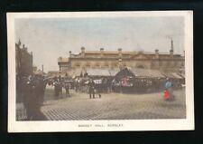 Lancs Lancashire BURNLEY Market & Market Hall pre1919 tinted PPC