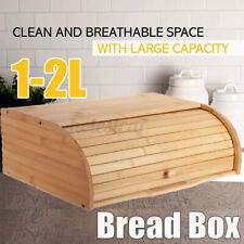 Wooden Bamboo Roll-Top Bread Bin, Bread Storage Box / Dry Food Loaf Container