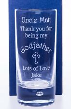 Engraved/Personalised GODFATHER/GODMOTHER CROSS Highball Glass Gift