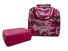 Tupperware Lunch Bag with Sandwich Keeper Pink Camo Winter - Gently Used