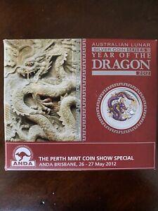 2012 Aus $1 - ANDA, Brisbane Coin Show - Purple Dragon - 1oz .999 silver w/ OMP