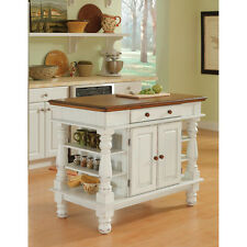Antiqued White Kitchen Island Shabby Chic Storage Cabinet Shelves Rustic Oak Top