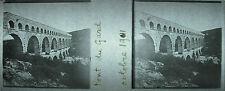 Plaque photo stéréoscopique photographie Pont du Gard octobre 1901 Uzès Nîmes