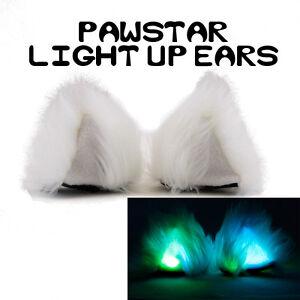 PAWSTAR Light Up Clip On Fox Ears - Costume Cosplay Furry Faux Fur wolf kitt3220