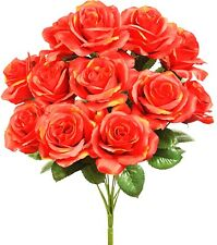 Flame Orange 12 Open Roses Silk Flowers Fall Wedding Bouquet Artificial Fake