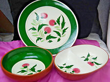 3 Stangl Thistle Serving Pieces: 8'' Veg Bowl, Divided Dish, 12'' Platter S6389