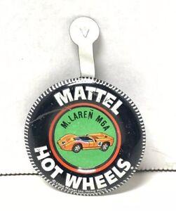 Vintage 1968 Mattel Hot Wheels Redline McLaren M6A Metal Pin Tab Badge Free Ship
