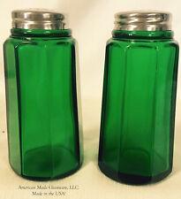 Hunter Green Glass Paneled Salt & Pepper Shaker Set - Mosser USA
