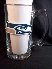 New listing Seattle Seahawks heavy glass beer mug thumbprint handle 10 oz Nfl
