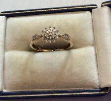 Pretty Ladies Hallmarked Vintage 9 Carat Gold Diamond Cluster Ring - M