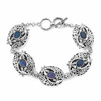 925 Sterling Silver Opal Elegant Bracelet Jewelry Gift for Women Size 8'' Ct 4.8