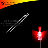 100pcs 3mm led water clear Red Light Emitting Diodes round top ultra bright