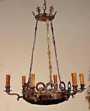 French Empire chandelier bronze Ormolu Hanging Lamp 6 arms lights ornate antique