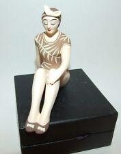 Bathing Beauty Figurine Figure Shelf Sitter Brown with Fern Leaf Pattern Mini