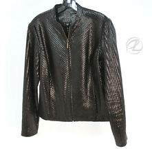 Due Per Due Jacket Black Snake Skin Size 6 Women Blazer Zip Front Pocket Fitted