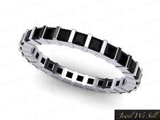 Wedding Band Ring 18k White Gold 1.55Ct Princess Black Diamond Bar Set Eternity