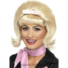 W320 50s Flicked Beehive Bob Hairspray Grease Blonde Flip Costume Party Wig