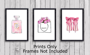Set of 3 Pink Fashion Coco Wall Art Poster Photo Print Picture, Gift  A5 A4 A3