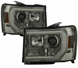 Spyder Projector Headlights - Light Bar DRL LED - Smoke for 2007-2013 GMC Sierra