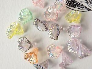 30 PCS Transparent Acrylic Bead Caps, AB Color, Flower, Mixed Colour, 10x12x12mm