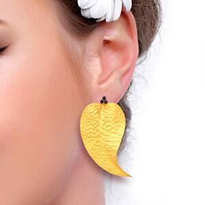Lapis Gemstone Leaf Design Earrings 18k Gold Plated Fashion Brass Jewelry