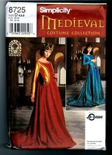 Simplicity 8725 Medieval Costume Dress Gown Pattern Vintage 1999 Size. 4 6 8