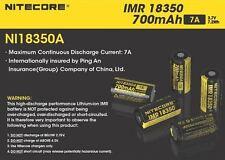 2x Nitecore IMR 18350 7A Li-Mn Rechargable Button Top Battery (700mAh) NI18350A