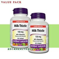 2 x Webber Naturals Milk Thistle 150 mg · 60% Silymarin, 120 Softgels