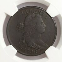 1798 Draped Bust 1st Hair 1C S-148 NGC Certified VF Details Environmental Damage