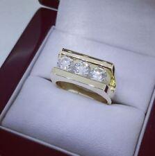 Certified 1.50Ct Brilliant Cut Moissanite Men's Engagement Ring 14K Yellow Gold