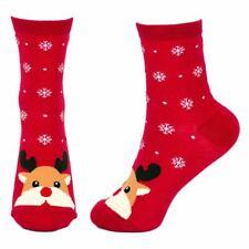 Women's Snow Scene Rudolf the Reindeer Christmas Crew Socks - One Size