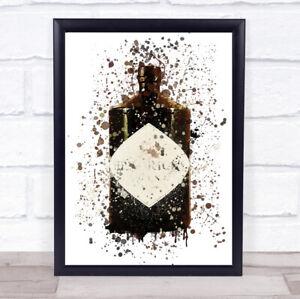 Watercolour Splatter Dark Scottish Gin Bottle Wall Art Framed Print