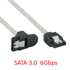 3Ft Serial ATA SATA 3.0 6Gbps Straight to Right-Angled Round Data Cable w/ Latch