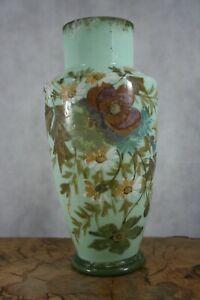 Victorian mint green/jade milk glass hand painted vase (499)