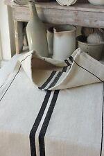 GRAIN SACK RARE BLACK vintage homespun ~ linen cotton mix charcoal cotton linen