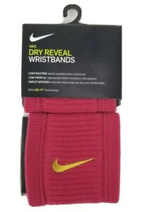 Nike Dry Reveal Wristbands Color Red Crush/Dark Citron 1 Pack Set of 2  Dri-Fit