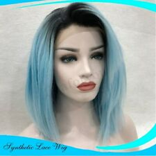 Fashion Lace Front Wig Synthetic Fiber Hair Women Bright Blue Straight Wigs